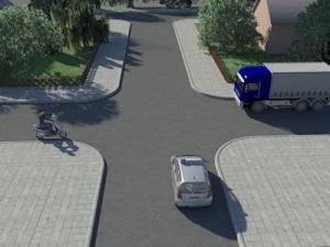 vrachtwagen gelijkwaardige kruispunt